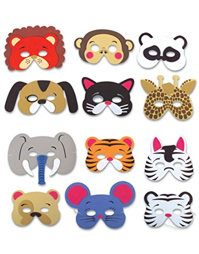 [Rhode Island Novelty 12 Assorted Foam Animal Masks for Birthday Party Favors Dress-Up Costume] (L Themed Costumes)