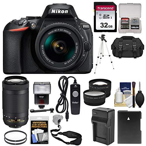 Nikon D5600 Wi-Fi Digital SLR Camera with 18-55mm VR & 70-300mm DX AF-P Lenses + 32GB Card + Case + Flash + Battery & Charger + Tripod + Tele/Wide Lens Kit (Nikon Digital Camera Battery)
