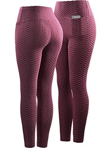 Neleus Women's 3 Pack Tummy Control High Waist Leggings Out Pocket,9036,Black/Grey/Maroon,S,EU M by Neleus (Image #3)