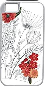 iPhone 5 5S Cases Customized Gifts Cover Artistic black and white floral design with red flowers Design