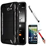 Alcatel A30 (Amazon Vision) / Alcatel Zip LTE (Amazon Vision) / Alcatel A577VL A576BL / Alcatel Kora Case. Slim Brush Texture Hybrid Defender Armor Protective Case Cover (Brush Black)