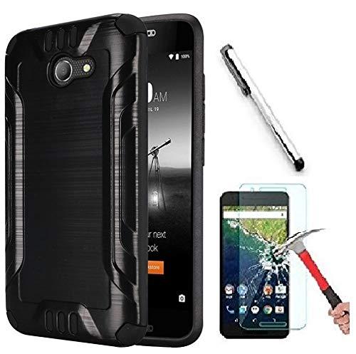 Alcatel A30 (Amazon Vision) / Alcatel Zip LTE (Amazon Vision) / Alcatel A577VL A576BL / Alcatel Kora Case. Slim Brush Texture Hybrid Defender Armor Protective Case Cover (Brush - Faceplate Texture Case Black