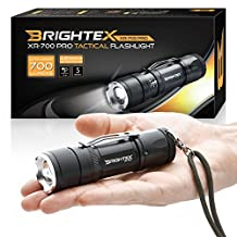 BRIGHTEX XR-700 Pro REAL UL Lab Tested 700 Lumens Super Bright Small Tactical Flashlight XM-L2 U2 LED, Rubast, Water Resistant, 5 Modes Inc Strobe & SOS, 2000 x Zoom & Belt Clip!