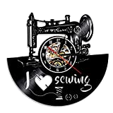 I Love Sewing Vinyl Record Wall Clock Vintage Handmade Home Decor Art Decorative Wall Clock for Tailor