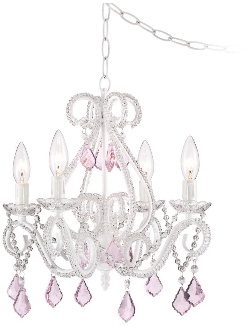 Saint Mossiピンク クリスタル調 ガラス シャンデリアシーリングライト 4灯