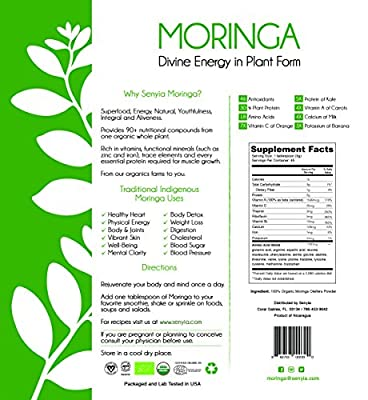 Organic Moringa Powder Green Superfood - 100% Pure Moringa Oleifera Leaf Powder - Vegetarian Protein Raw Whole Food Supplement Antioxidant - Energy, Metabolism, Immunity, Detox and Weight Loss Support