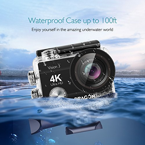 513agFl1vzL - Dragon Touch 4K Action Camera 16MP Sony Sensor Vision 3 Underwater Waterproof Camera 170° Wide Angle WiFi Sports Cam with Remote 2 Batteries and Mounting Accessories Kit
