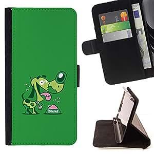For Samsung Galaxy S5 V SM-G900 Case , Verde de la historieta perro de mascota Dachshund- la tarjeta de Crédito Slots PU Funda de cuero Monedero caso cubierta de piel