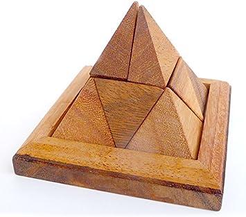 LOGICA GIOCHI Art. Pirámide 9 pzs - Rompecabezas de Madera 3D - Dificultad DIFÍCIL 3/6 - Serie Leonardo de Vinci