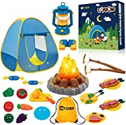 MITCIEN Kids Camping Play Tent with Toy Campfire / Marshmallow /Fruits Toys Play Tent Set for Boys Girls Indoo