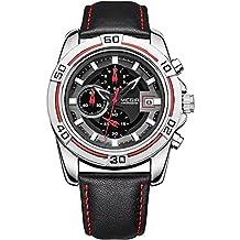 Gosasa Men's Chronograph Sports Steel Case Watch Racing Dial Multi fonction Leather Strap Analog Quartz Watches
