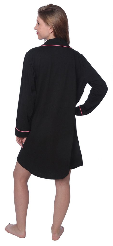 Beverly Rock Women's Soft Jersey Knit Cotton Blend Button Down Sleepshirt Pajama Top with Piping Finish Y18_WPJ01 Black 1X by Beverly Rock (Image #2)