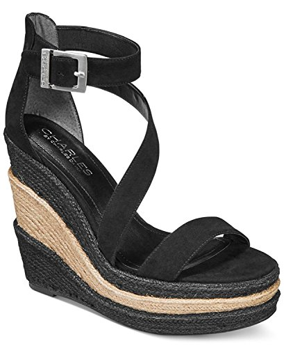 Women's Charles David Sandal by Wedge Microsuede Micro Black Suede Thunder Charles wFFtAxq7
