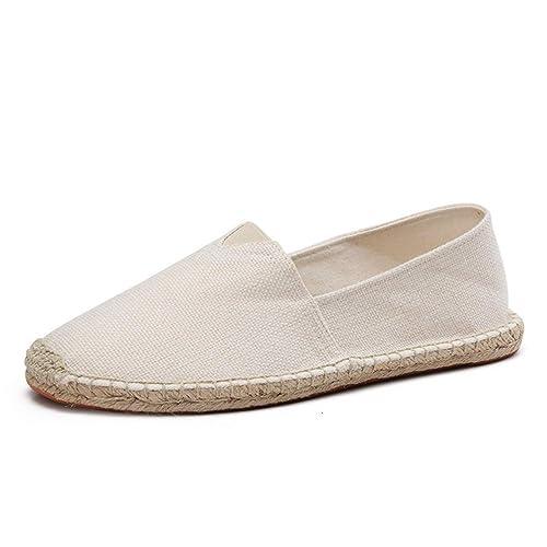 Hombres Zapatos de cáñamo Abrigo Alpargatas Primavera Hombres Lona Zapatos Hombres Mocasines Transpirables Slip on Solid Flats: Amazon.es: Zapatos y ...