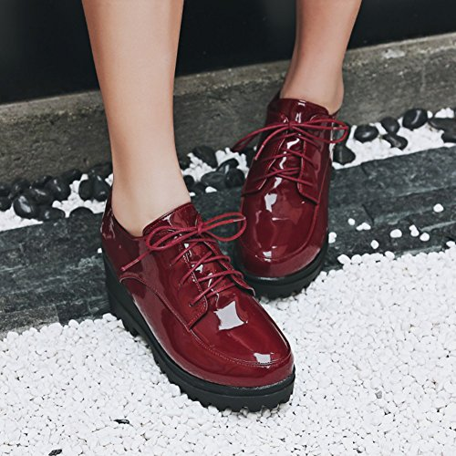 Easemax Womens Fashion Skinande Snörning Plattform Mitten Kilklack Rund Tå Pumpar Skor Claret