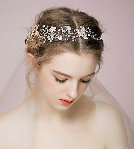 Fairy Costumes Ideas For Teenagers (Bohemia Goddess Gold Leaf Crown Headband - Bridal Wedding Headpiece Pearl Crystal Halo Ribbon Headband)