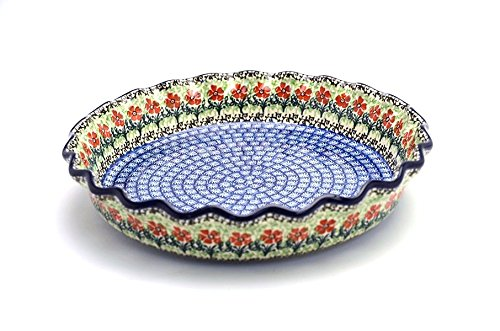 Polish Pottery Baker - Pie Dish - Fluted - Maraschino ()