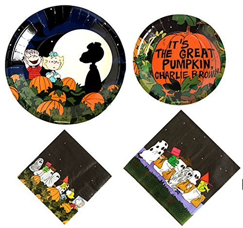 Charlie Brown Halloween Birthday Party (Snoopy Halloween The Great Pumpkin Party Supplies for 16 People: Lunch or Dinner Plates, Dessert Plates and Napkins 64 Piece)