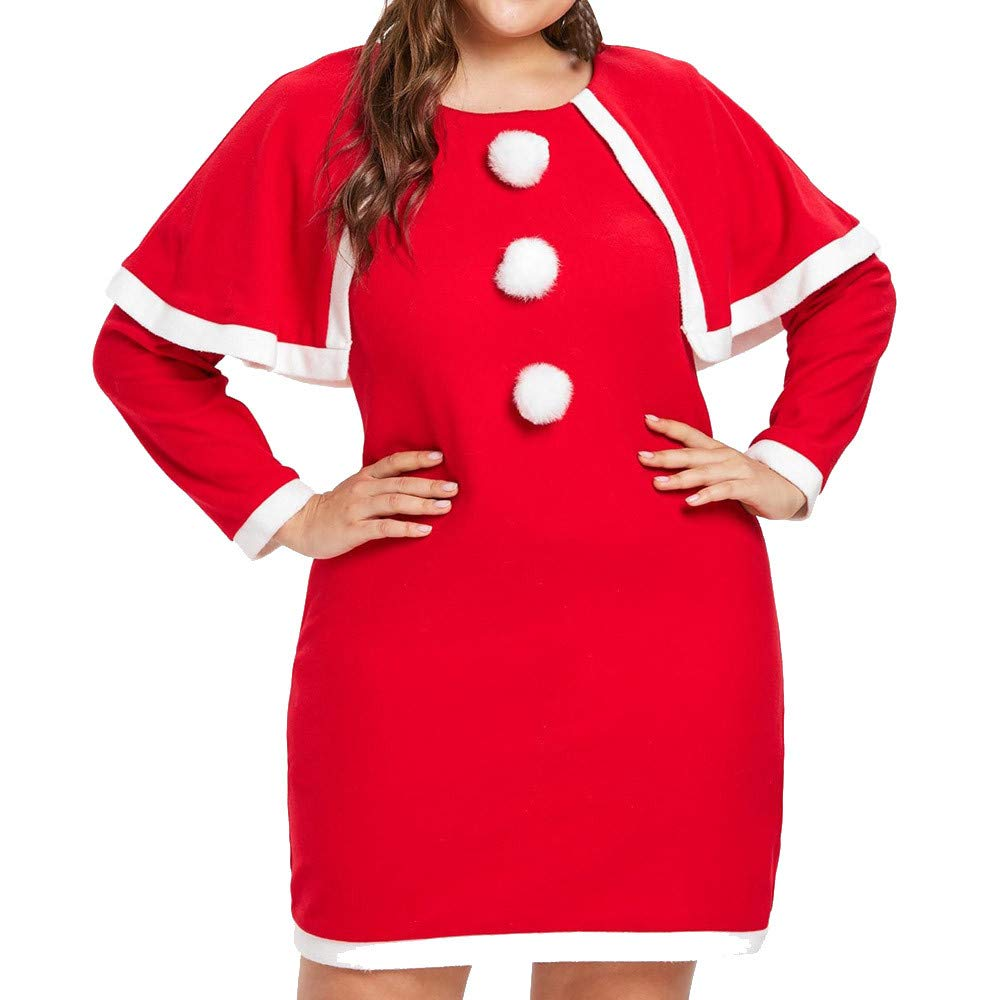 Pervobs Women Plus Size Long Sleeve Patchwork Merry Christmas Dress with Hat