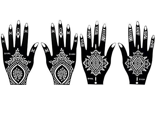 4 fogli Mehndi Tattoo Stencil mano Mehndi Tatuaggi all'hennè S106 103 - Usa e getta - Per Tatuaggio all'henné, scintillio tatuaggio e airbrush tatuaggio Beyond