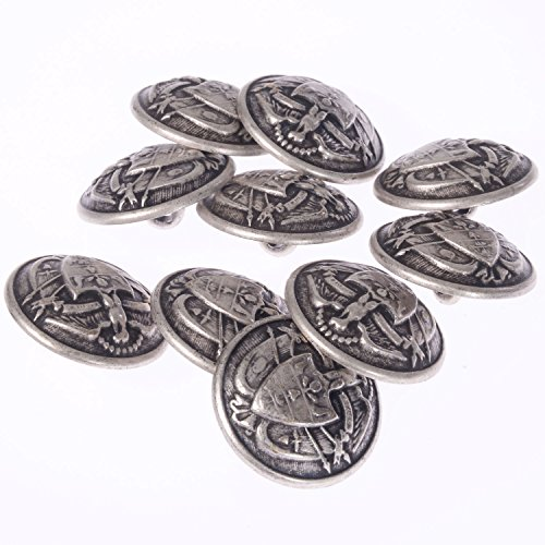 Mibo Zinc Die Casted Embossed Eagle Coat of Arms Crest Shank Button Antique Silver 36Line (10pc)