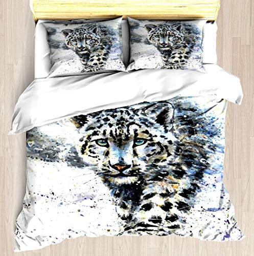 (ZOMOY Snow Leopard Duvet Cover Set Unique Printed Exclusive Designed Pattern Comforter Bedding Cover Pillow Shams 3 Piece Bed Duvet Cover Queen/Full)