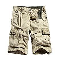 WenVen Mens Cotton Cargo Shorts