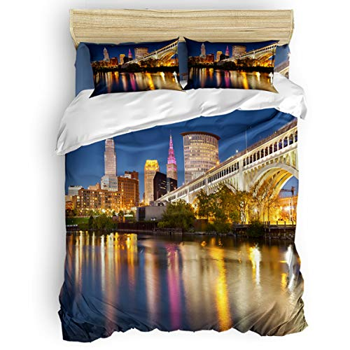 Twin 4 Piece Bedding Set for Girls Boys Children Adult, The Empire State Building New York City Night Scene Duvet Cover Set Ultra Soft and Easy Care Sheet Quilt Sets with Decorative Pillow Covers]()