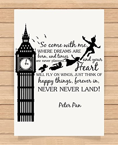 Presents Gifts For Kids Girls Boys Teens Children Nursery Birthday Christmas Xmas Vintage Peter Pan Lovers Fans So Come With Me Quotes Prints Posters Wall Art Unique Special Gifts (Homemade Adult Tinkerbell Costume)