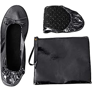 Foldable Ballet Flats – Women's Portable Ballerina Roll up Shoes with Pouch, Black