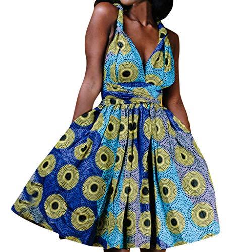 - Goddessvan Women's African Vintage 1950s Floral Printed V Neck Sleeveless Skirt Casual Evening Party Swing Bandage Dress Green