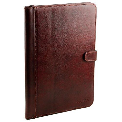 81412754 - TUSCANY LEATHER: Adriano - Porte documents en cuir avec fermerture à bouton, rouge