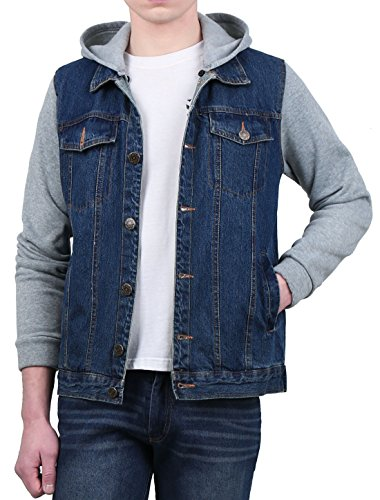 uxcell Men Button Front Long Sleeved Denim Jacket w Removable Hood L Blue by uxcell