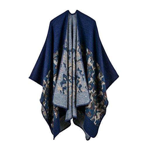 (Bakerdani Womens Winter Wrap Blanket Poncho Cape Shawl Cardigans Sweater Coat,Blue,One size:130*150cm)