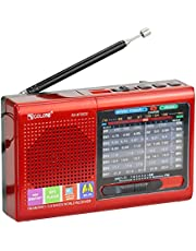 Multi-Function Wireless Radio FM/AM/SW Multi-Band Radio Portable Bluetooth Speaker MP3 Player can be Operated by Rechargeable Lithium Battery/3 AA Batteries Support TF Card/U Disk(Red)