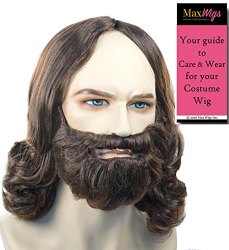 Biblical Full Set Color Blonde - Lacey Wigs Wig Beard Mustache Jesus Christ Disciple Apostle Easter Theaterical Quality Bundle with MaxWigs Costume Wig Care ()