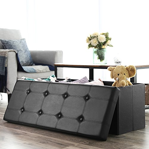 home & kitchen, furniture, accent furniture,  ottomans  on sale, SONGMICS 43 Inches Folding Storage Ottoman Bench, Storage Chest Footrest Padded Seat, Faux Leather, Black ULSF701 promotion1