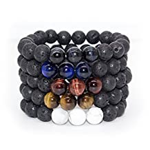 Bivei Natural Lava Rock Stone Essential Oil Diffuser Bracelet Healing Energy Chakra Buddhist Mala Jewelry W/3 Tiger Eye Stone/Howlite