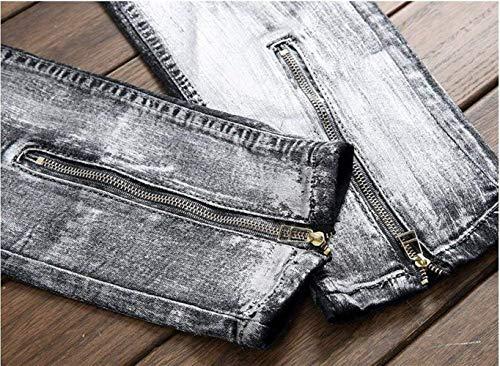 Jeans In Classiche Nero Slim Pants Uomo Simplicity Classici Chiusura Ragazzi Small Europe Pantaloni Cotone 51qEwwT