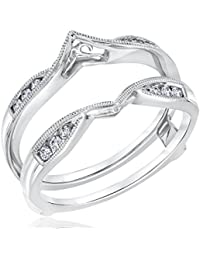 sterling silver plated plated forever beautiful cz diamond enhancer solitaire engagement ring guard wrap jacket 15ct alloy - Wedding Ring Wrap