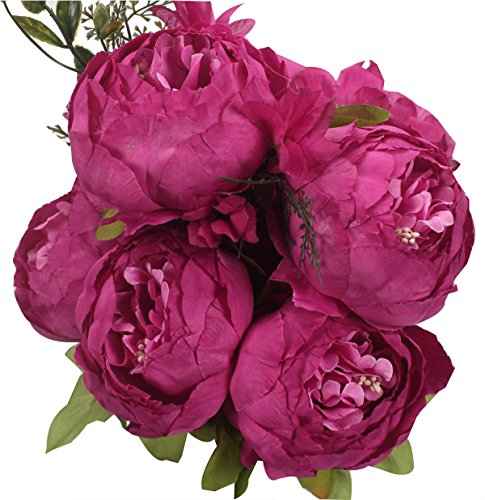XIUER Vintage Artificial Flowers Fake Peony Flowers Bouquet Glorious Wedding Home Bridal Decoration (Rose) (Bouquet Rose Peony)