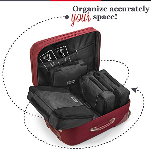 MyTravelUp, 7in1 - TRAVEL PACKING CUBES for everyone who loves travelling, HIGH QUALITY durable material, 2 BAGS for LAUNDRY/SHOES. This travel set will be a SMART ORGANIZER for clothes (Black) by MyTravelUp (Image #5)