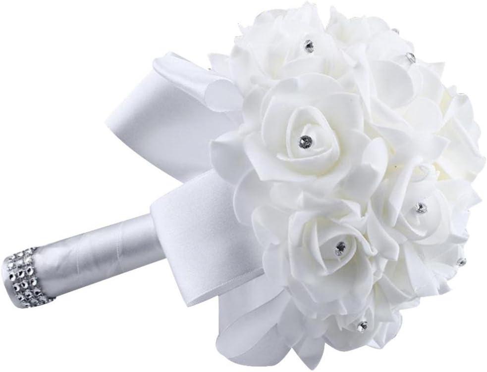 Hot Pink Sumen Artificial Flowers Crystal Roses Pearl Bridesmaid Wedding Bouquet Bridal Silk Flowers 2018 Hot
