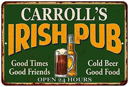 Chico Creek Signs CARROLL'S Irish Pub Personalized Beer Metal Sign Bar Decor 8x12 ()