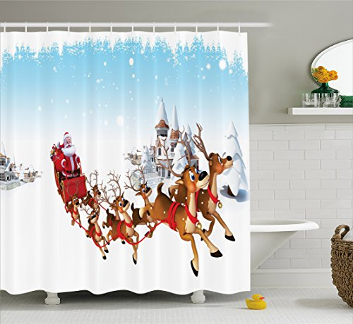 er Curtain, Christmas Ride on a Sleigh Cartoon Deer with Jingle Bells Winter Time, Cloth Fabric Bathroom Decor Set with Hooks, 75 inches Long, Caramel Red Pale Blue ()