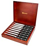 8-Piece German Steel Steak Knife Set - Great For BBQ, Weddings, Dinners, Parties, All Homes & Kitchens - Comes In Wooden Gift Box Set – By Elko Professional