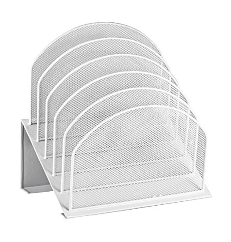 - AdirOffice Mesh 5 Slot Section Desk Organizer Sorter - Desktop Incline Caddy (White)