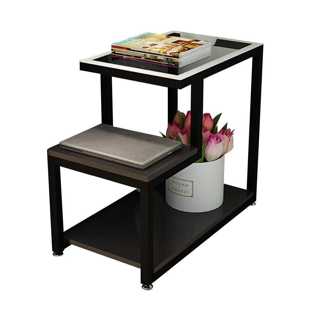 テーブル サイドテーブル、二重層オープン収納コーナーテーブル多機能棚強化ガラスカウンターソファサイドキャビネット用リビングルームの寝室 (色 : E, サイズ さいず : 90*35*55cm) 90*35*55cm E B07S66TLC3
