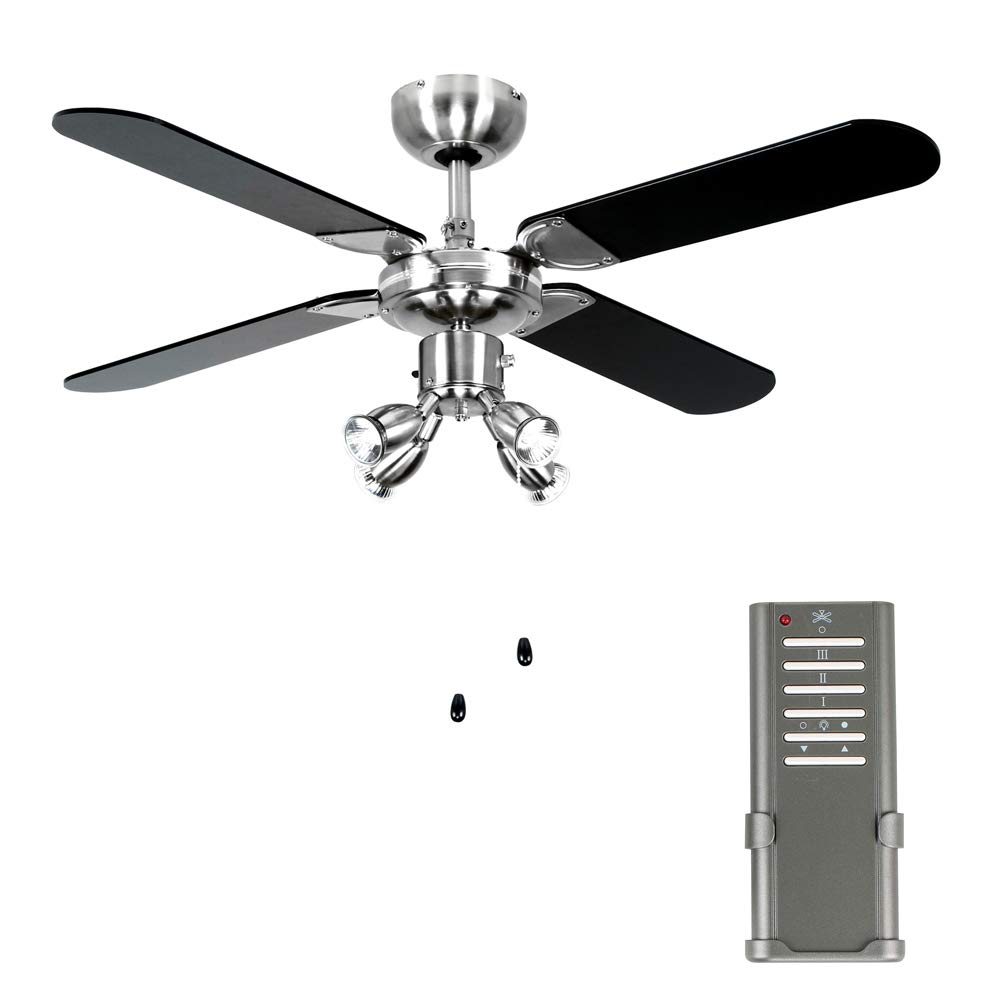 Minisun Chrome 42 Modern Ceiling Fan With Spot Lights Black Uk Light Wiring Diagram As Well Silver Reversible Blades Complete Remote Control Diy Tools