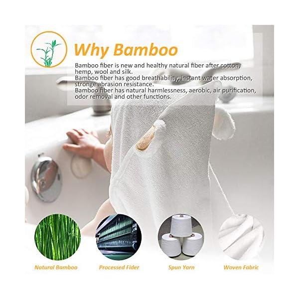 LATTCURE Accappatoio Neonato, Telo da Bagno Asciugamano per Bambini con Cappuccio Animale in Fibra di Bambù 90x90cm… 5